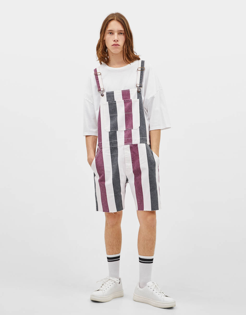 Short striped dungarees