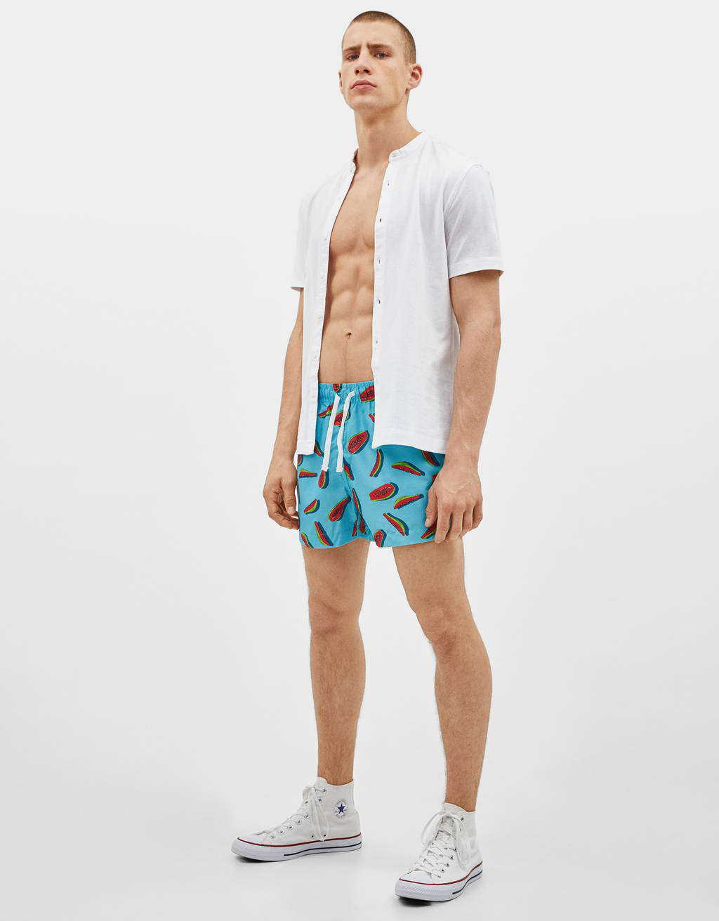 Printed swimming trunks