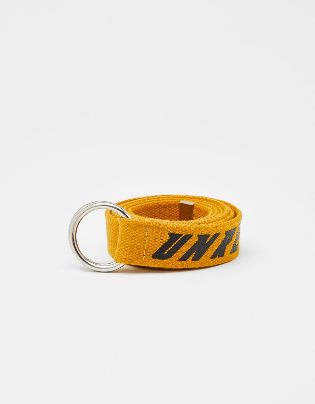 Slogan-printed canvas belt
