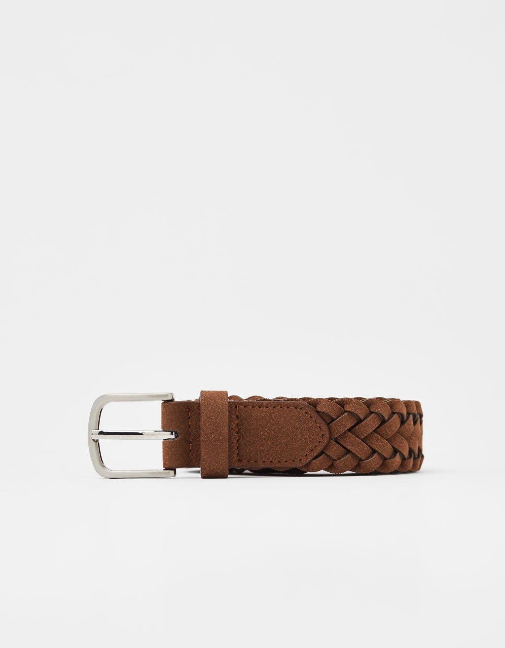 Braided faux suede belt