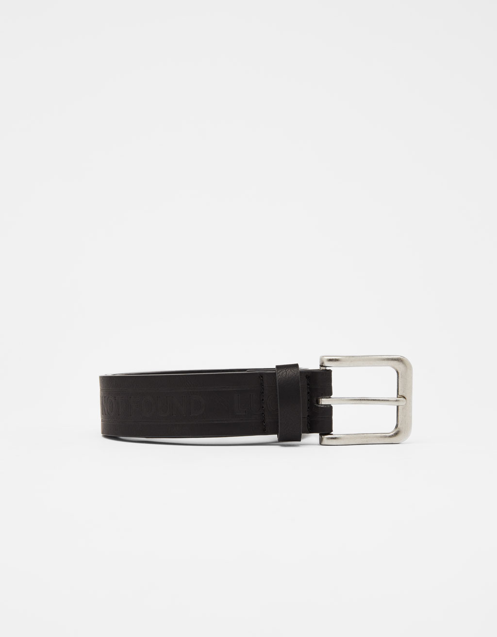 Faux leather belt with slogan