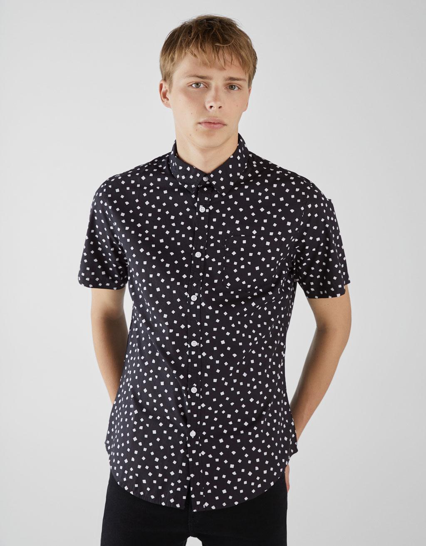 buena textura moda de lujo disfrute del envío de cortesía Camisa estampada manga corta