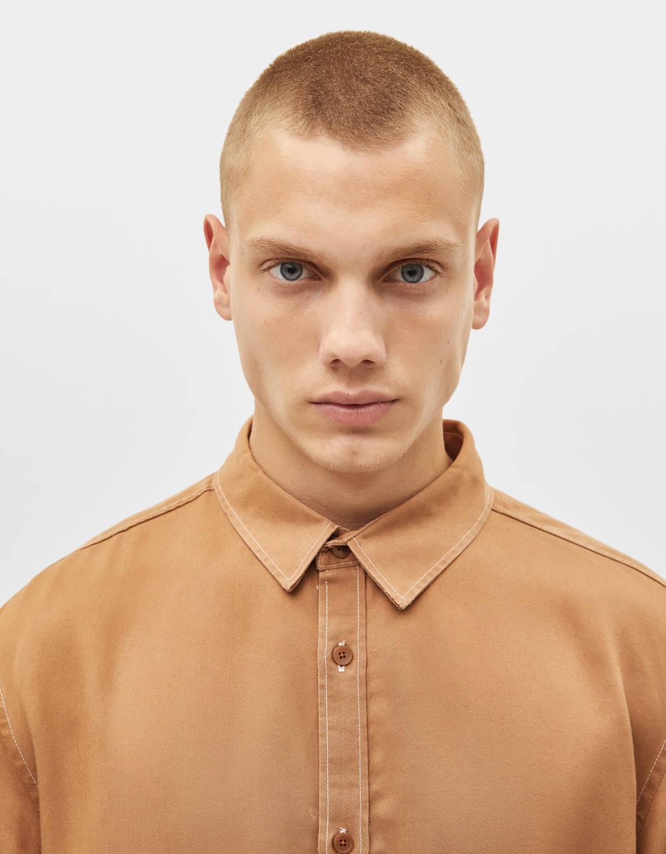 Tencel® shirt with contrast seams