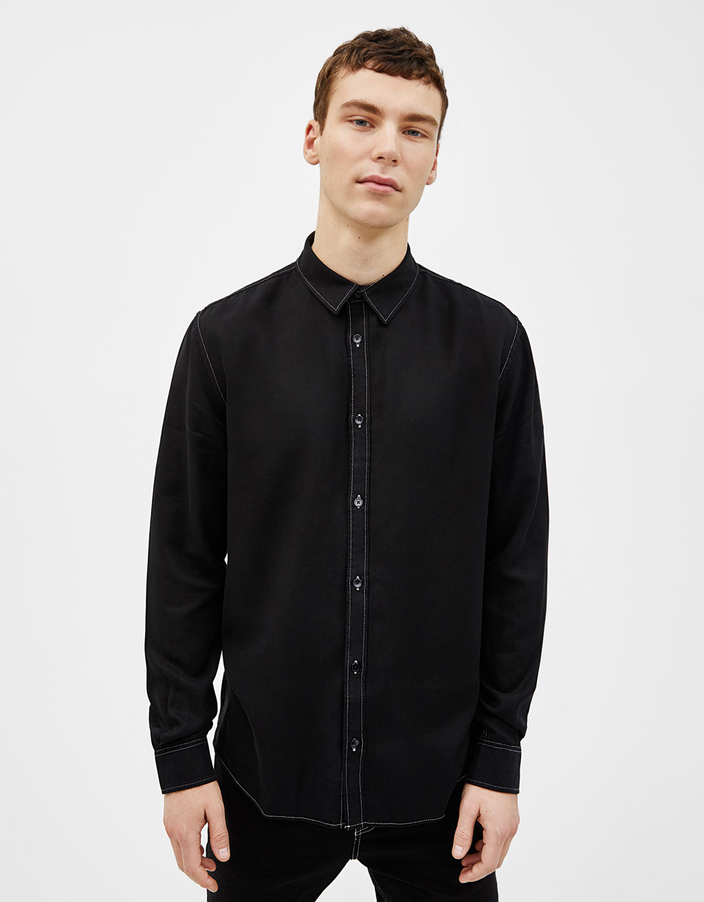 Tencel® shirt with contrast topstitching