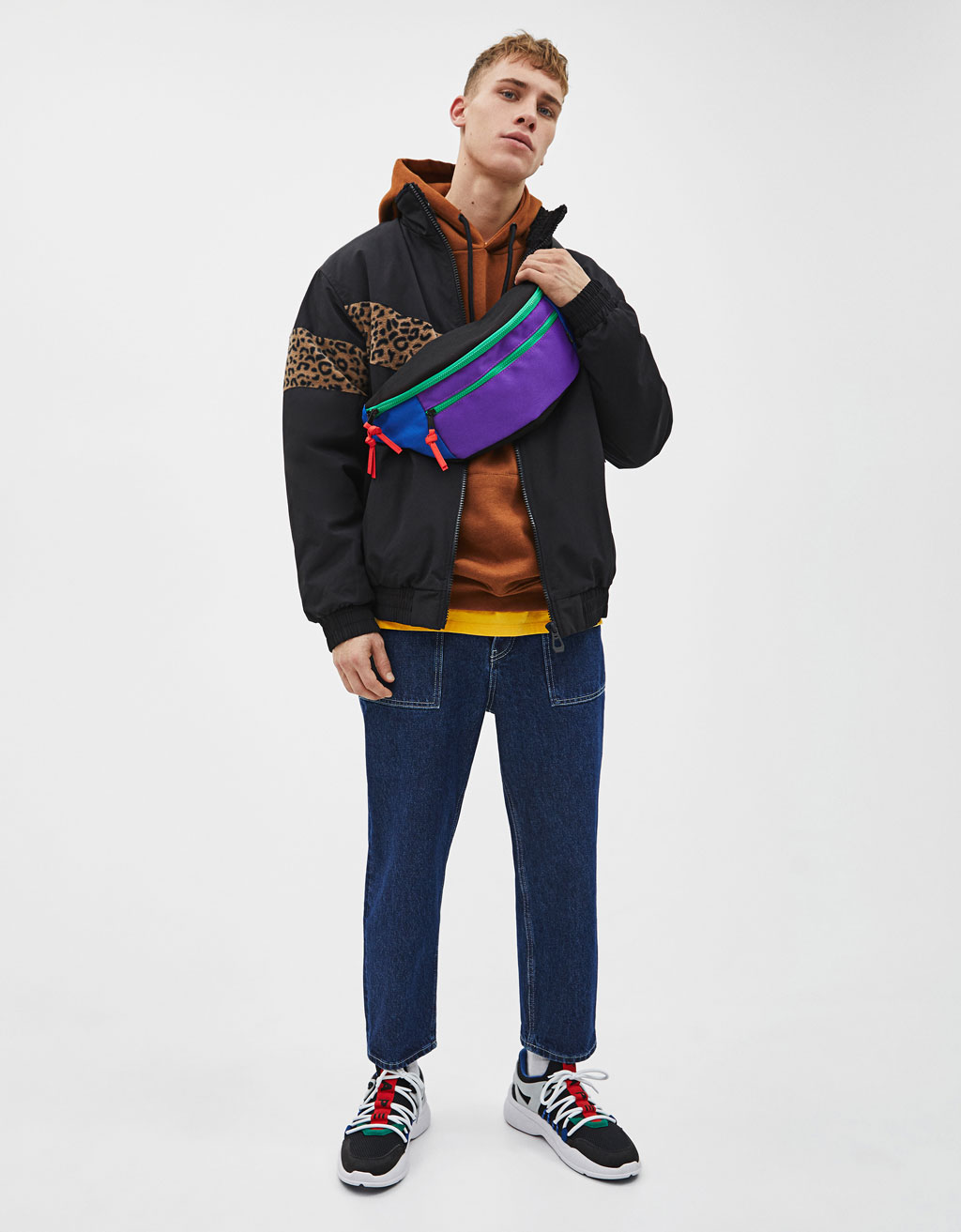 Colour block jacket with a faux shearling-trimmed collar