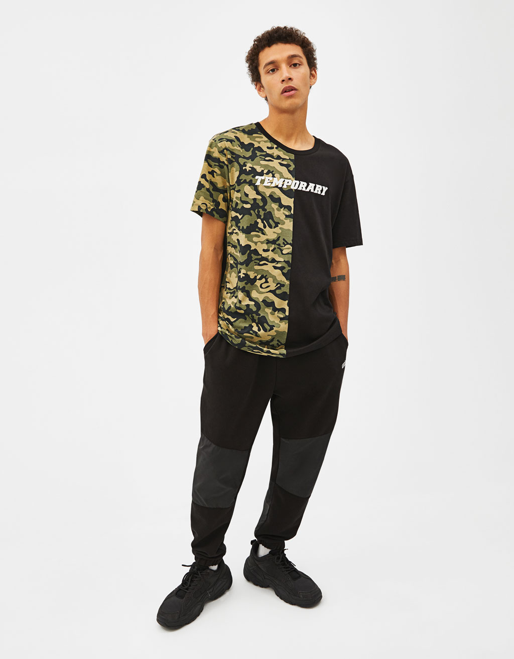 Camouflage colour block T-shirt