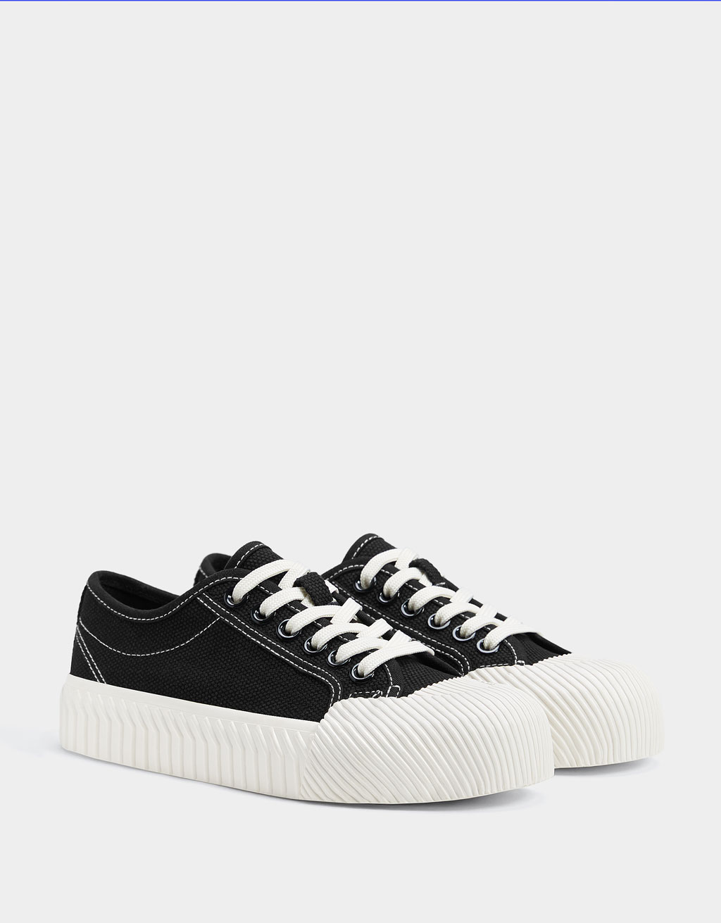 Topstitched platform sneakers
