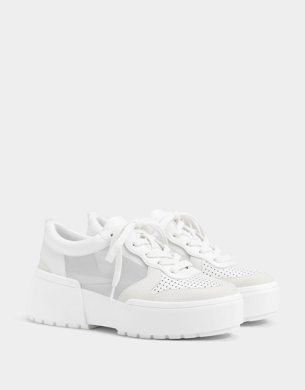 Sneakers rete con plateau