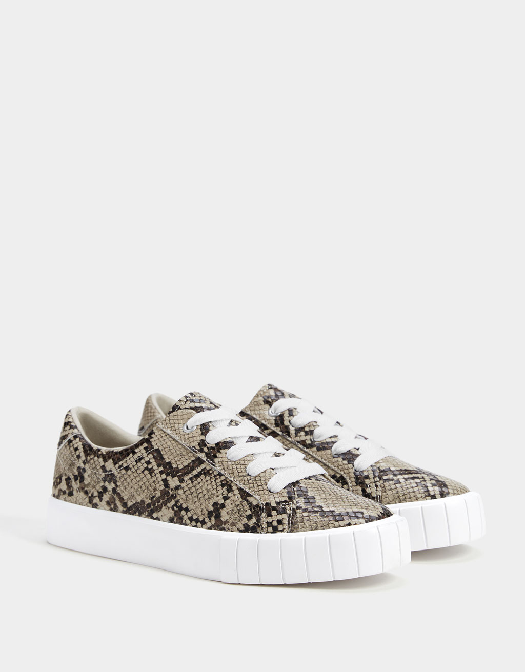 Natural animal print trainers