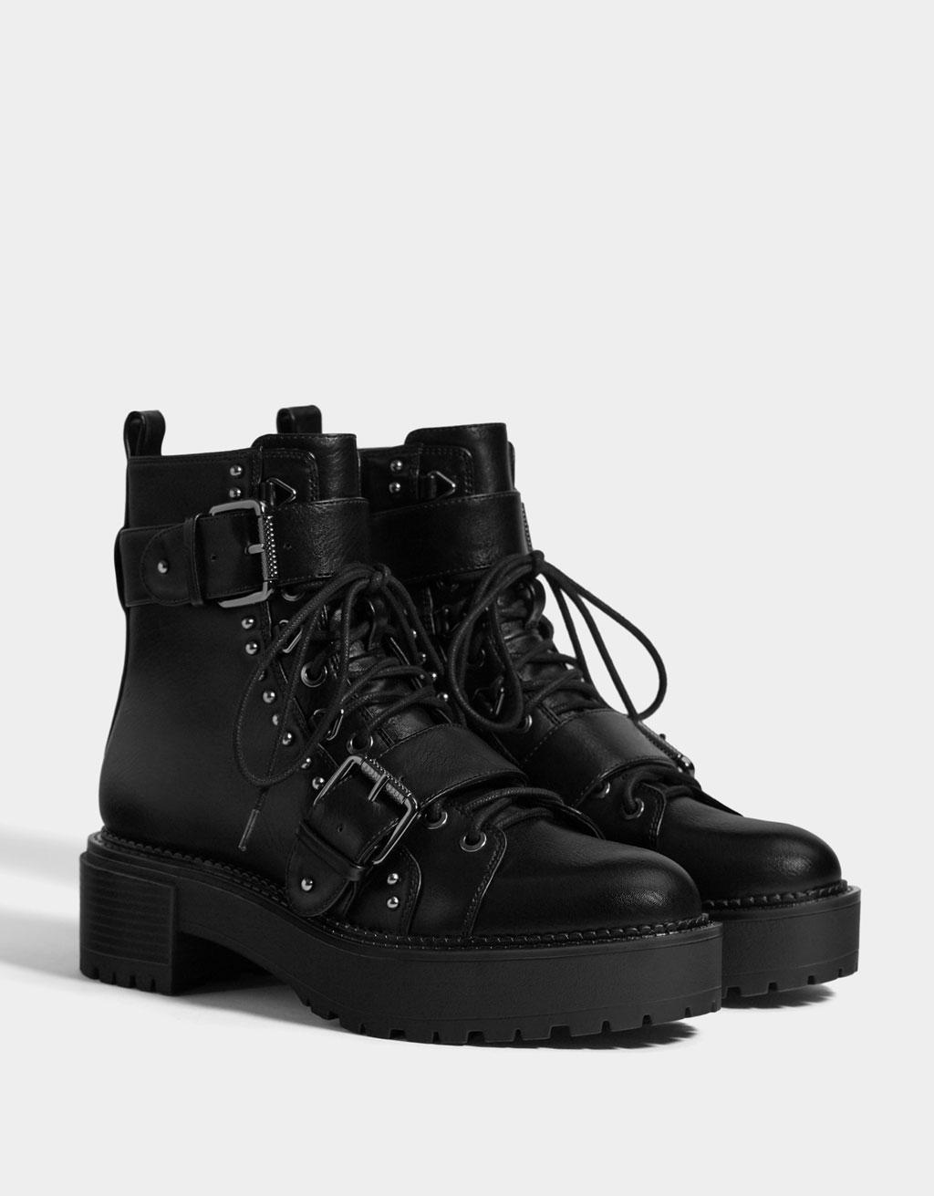 Studded platform ankle boots