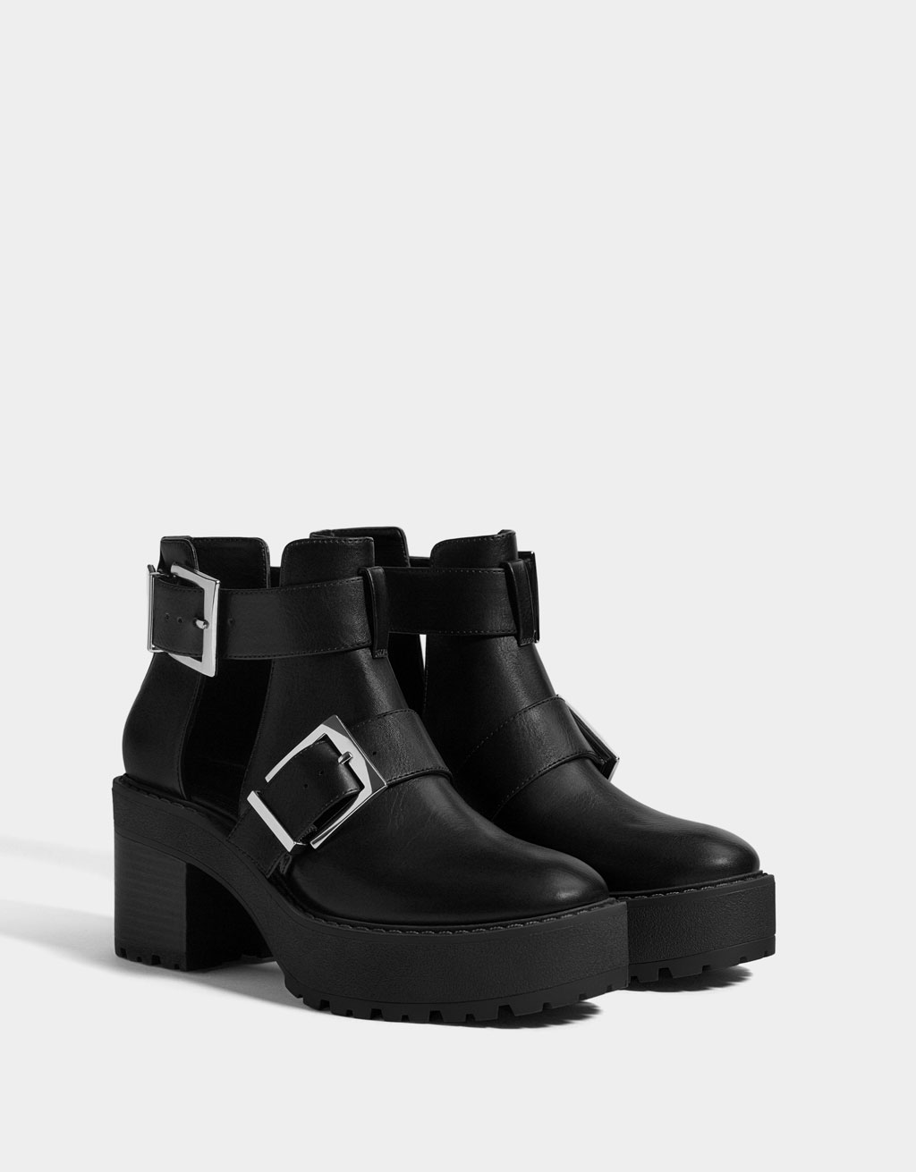 Cut-out platform ankle boots