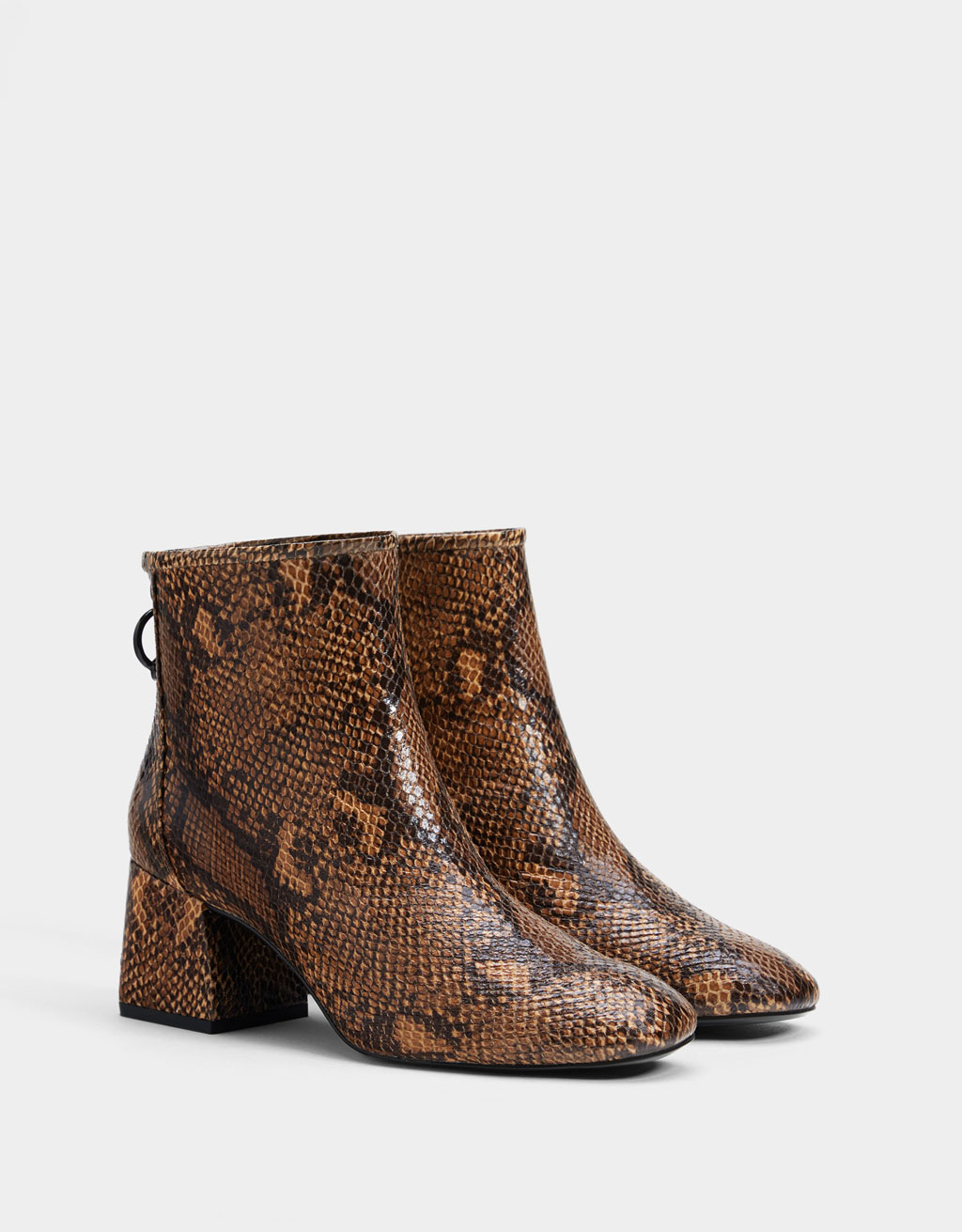 Animal print mid-heel ankle boots