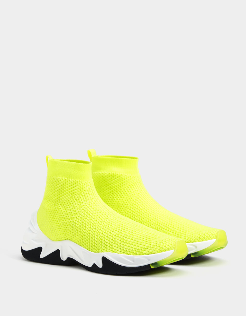 Neon high-top sock-style trainers