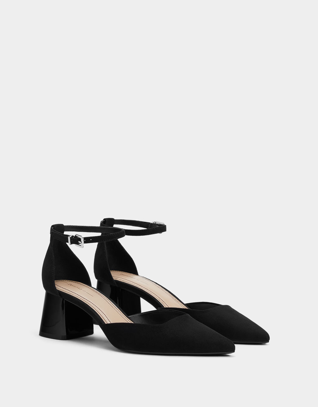 Mid-heel ankle strap shoes
