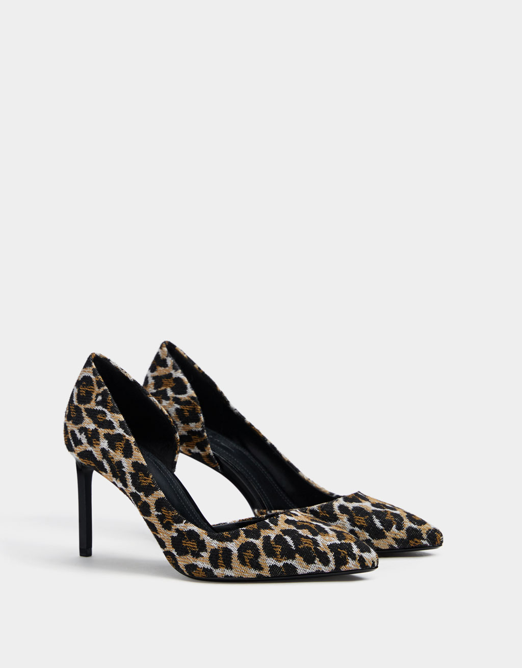 Asymmetric animal print high-heel shoes