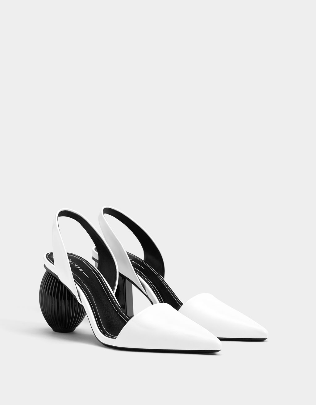 Asymmetric heel slingback shoes