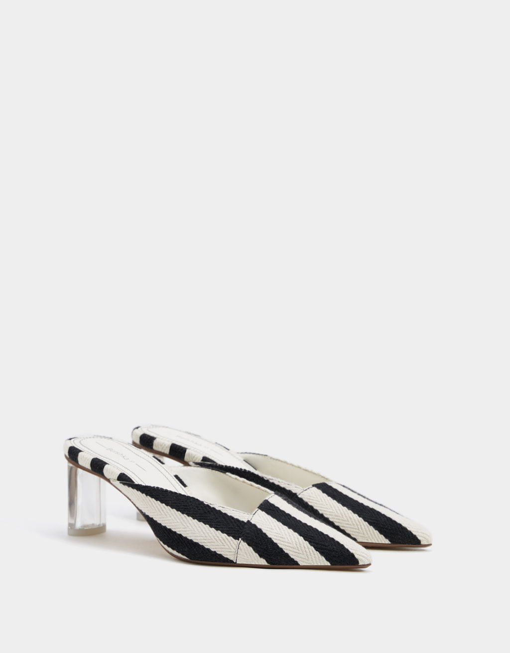 Striped methacrylate heeled mules