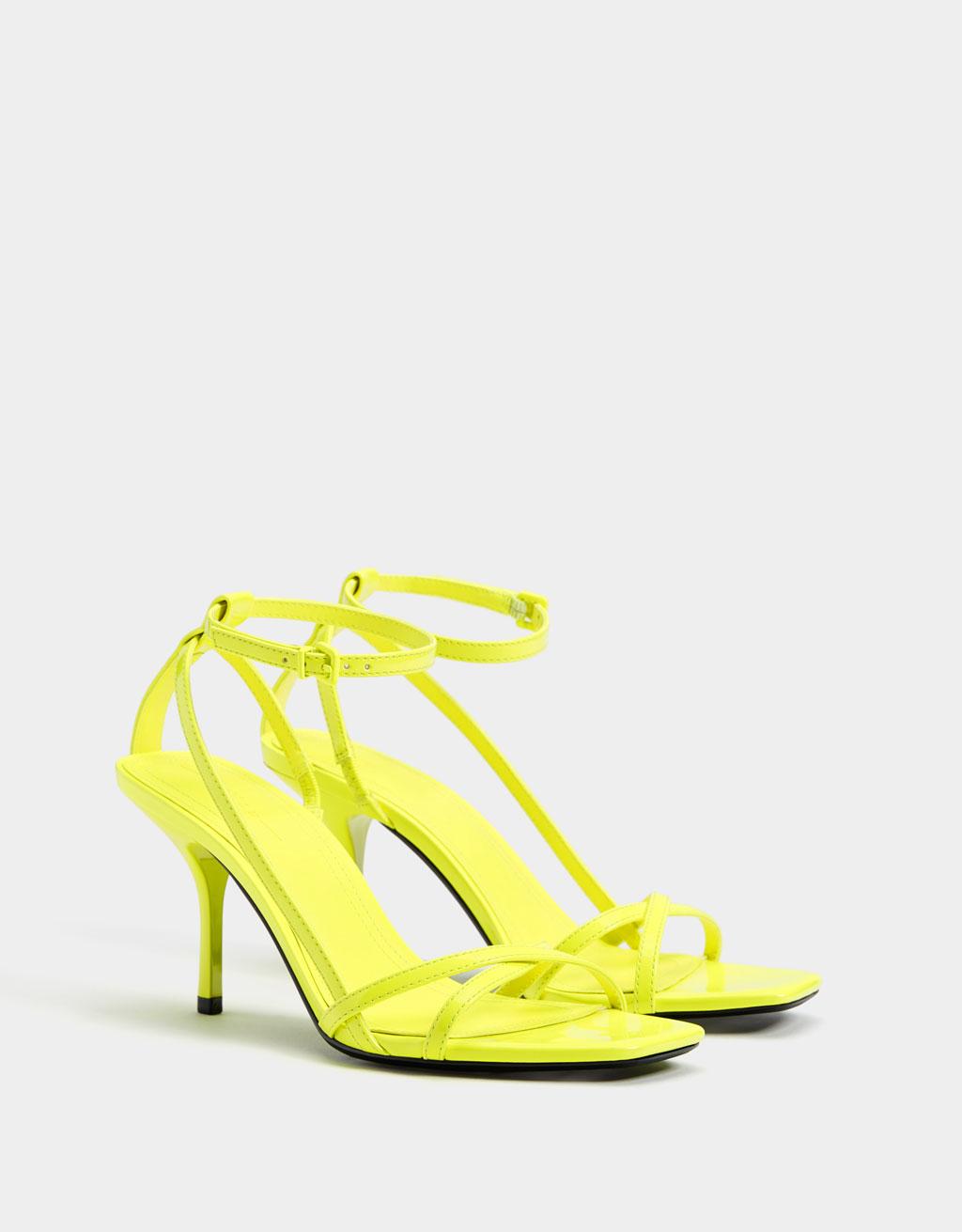 Neon multi-strap heeled sandals