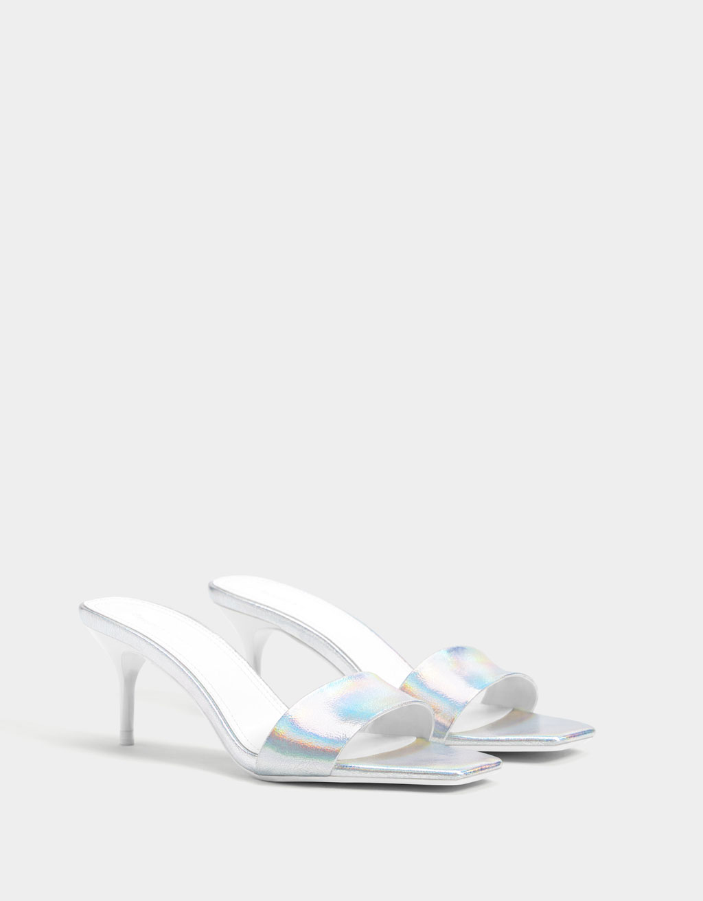 Iridescent mid-heel sandals