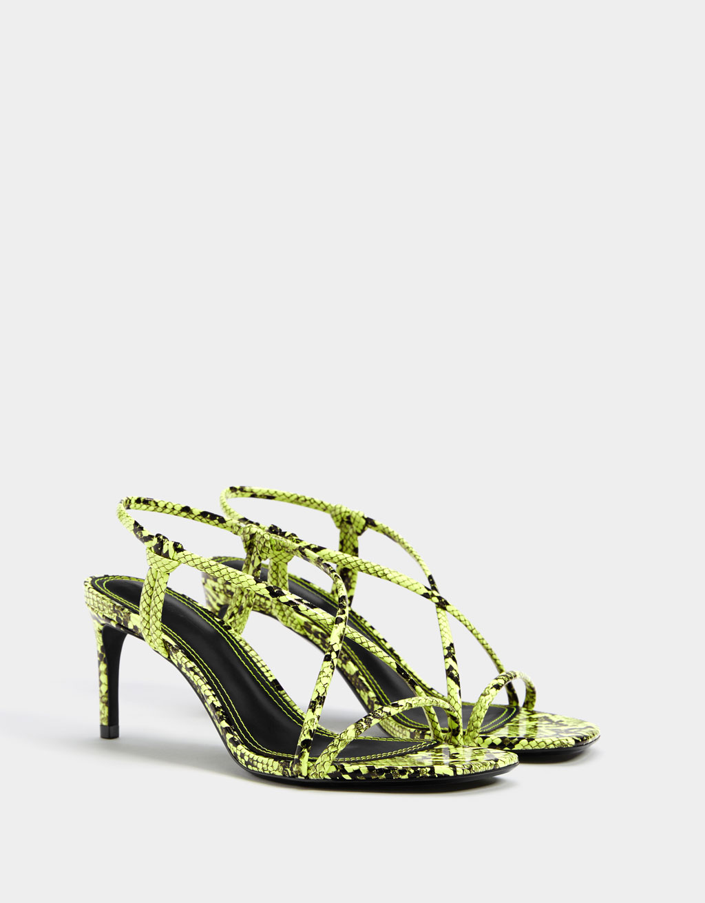 Animal print heeled sandals with tubular straps