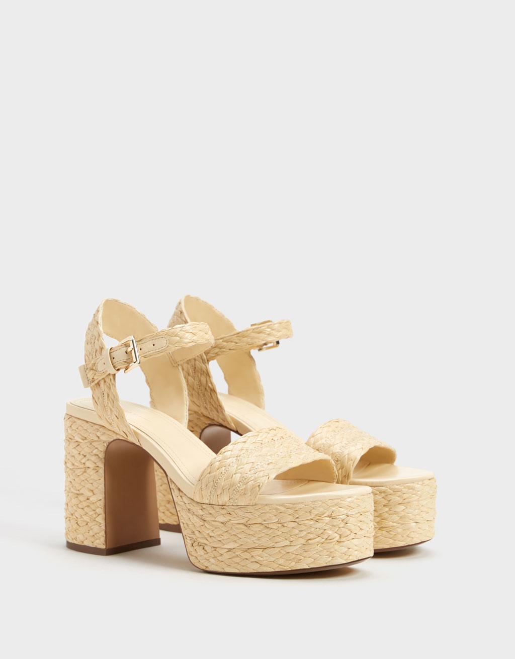 Raffia platform heel sandals