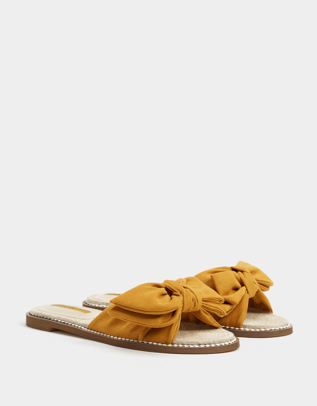 Jute slipper met strik