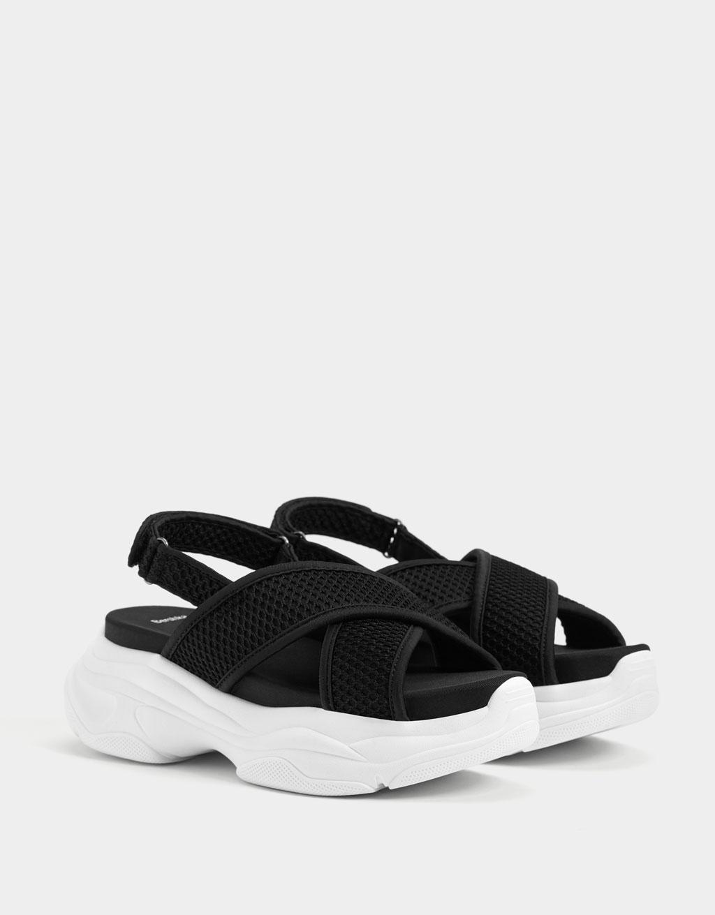 Sporty fabric platform sandals