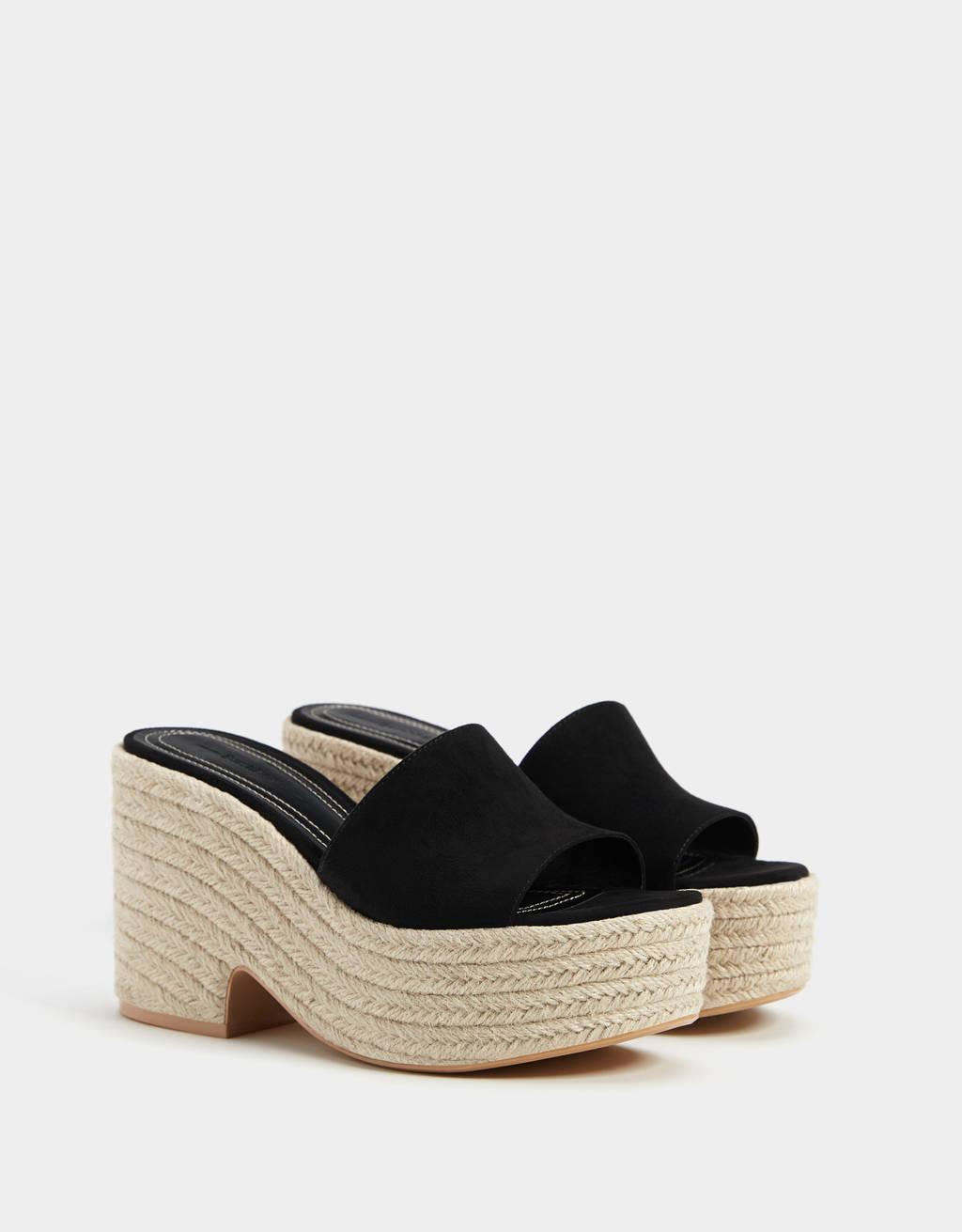 Jute platform sandals - Heeled Sandals