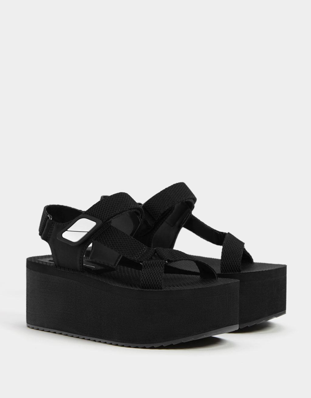 Sports platform sandals with straps