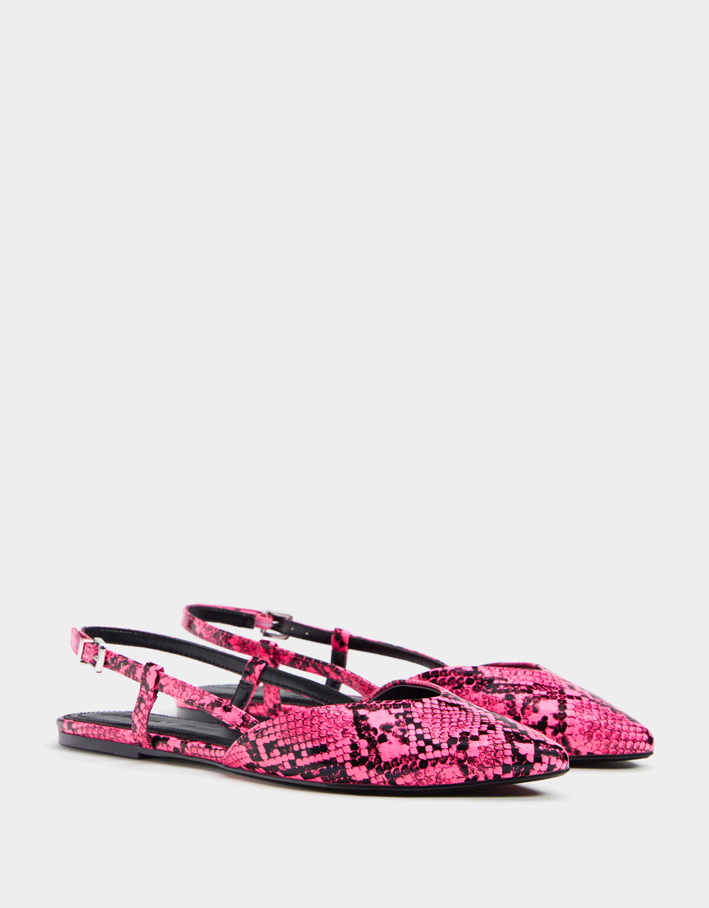 Animal print slingback flat shoes