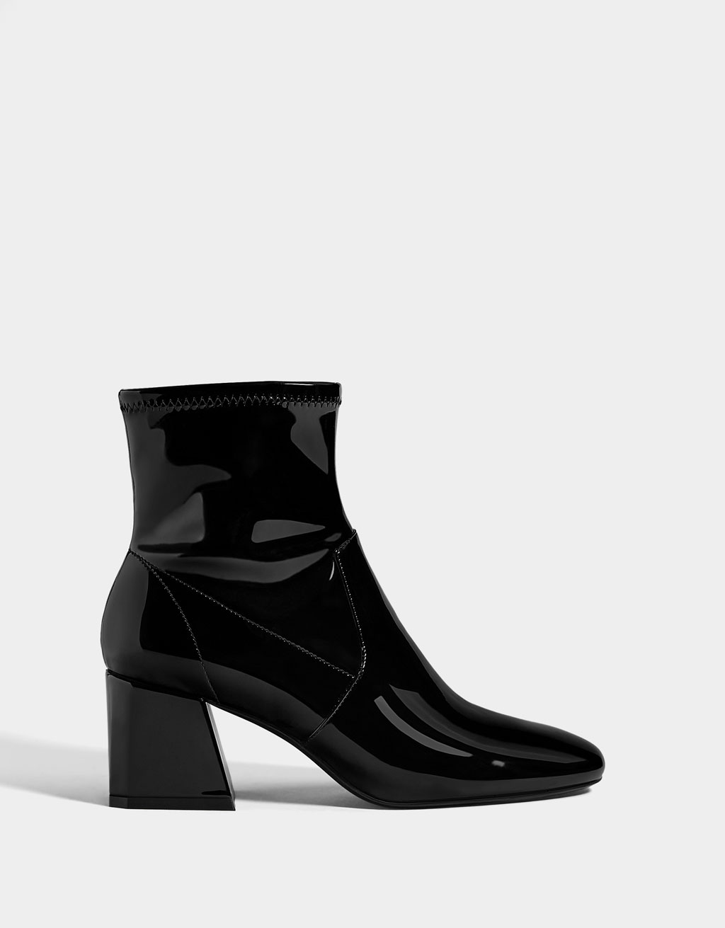 e091562c878 Mid-heel patent finish ankle boots - Party Collection - Bershka United  States