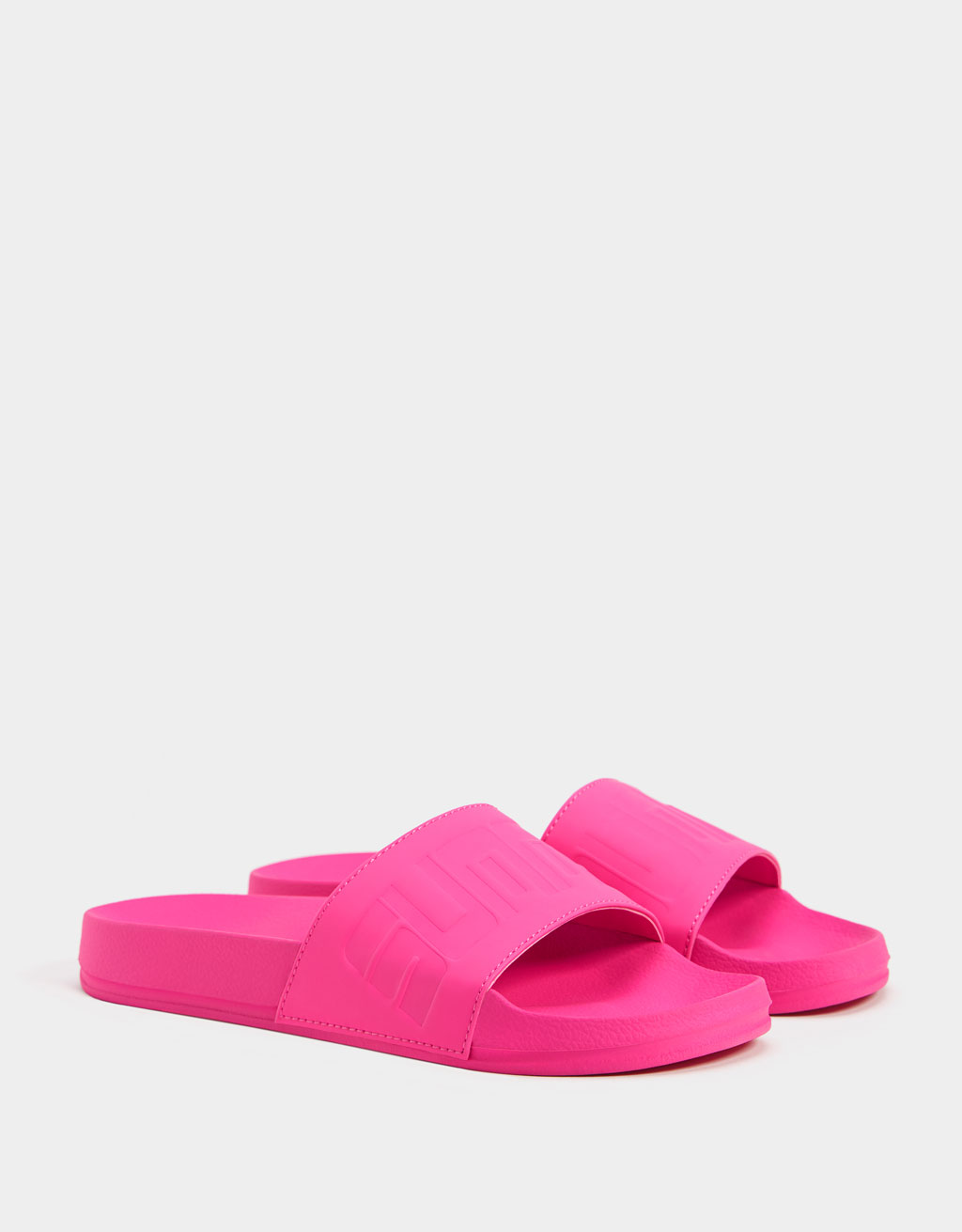 Neon vamp sandals with slogan