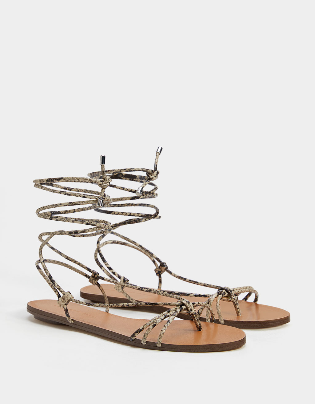Animal print lace-up flat sandals