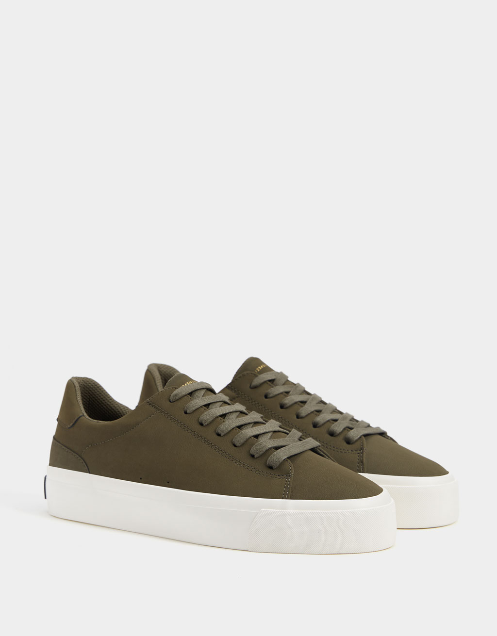Men's khaki lace-up trainers