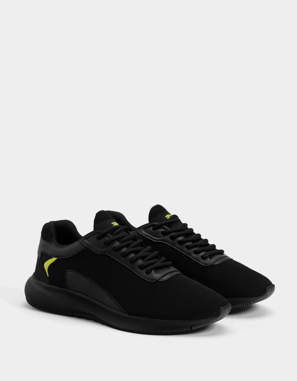 Sneakers résille détail fluo homme