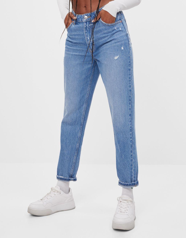 Jeanși Mom Fit High Waist