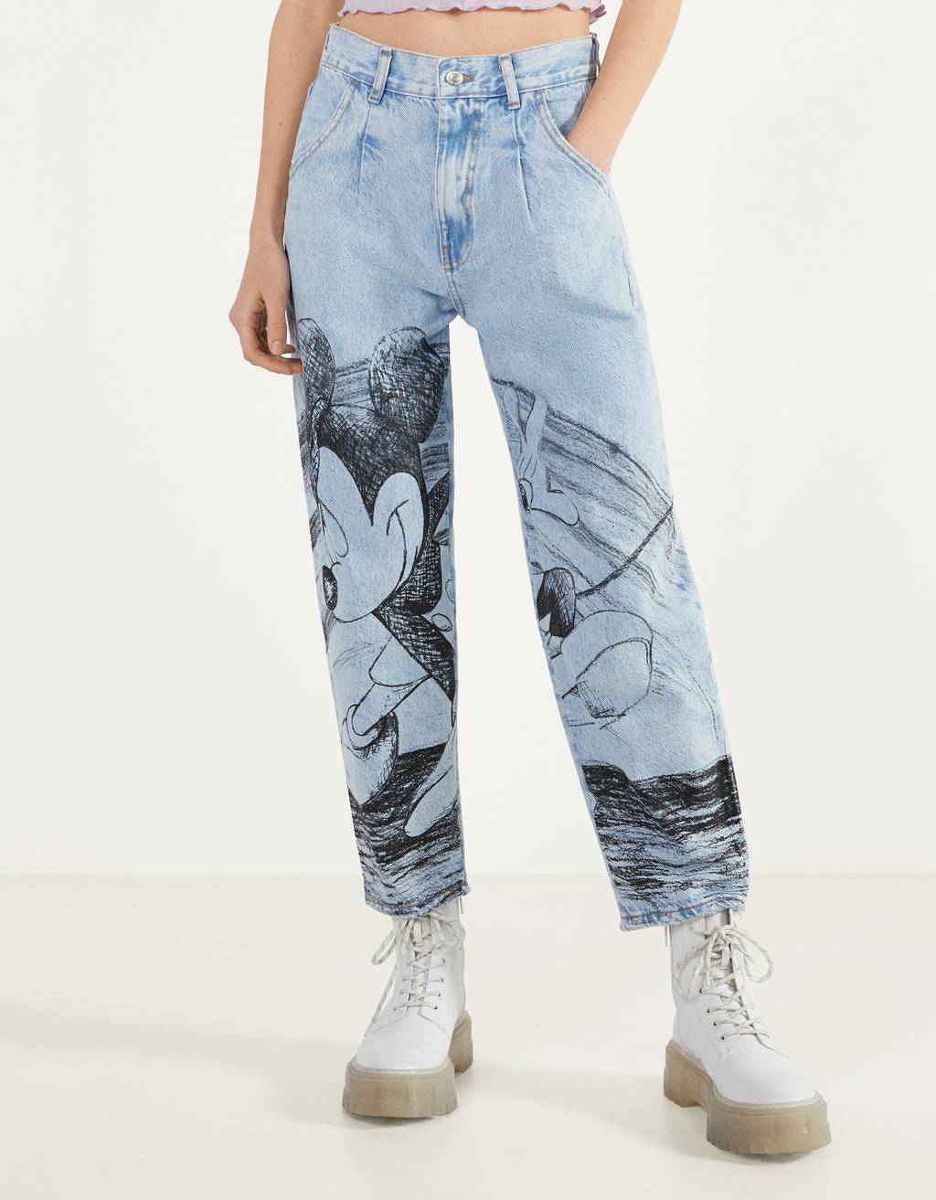"""Mickey gets arty"" balloon fit jeans"