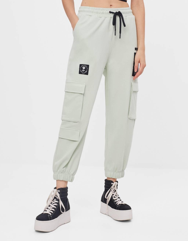 Plush cargo jogging trousers