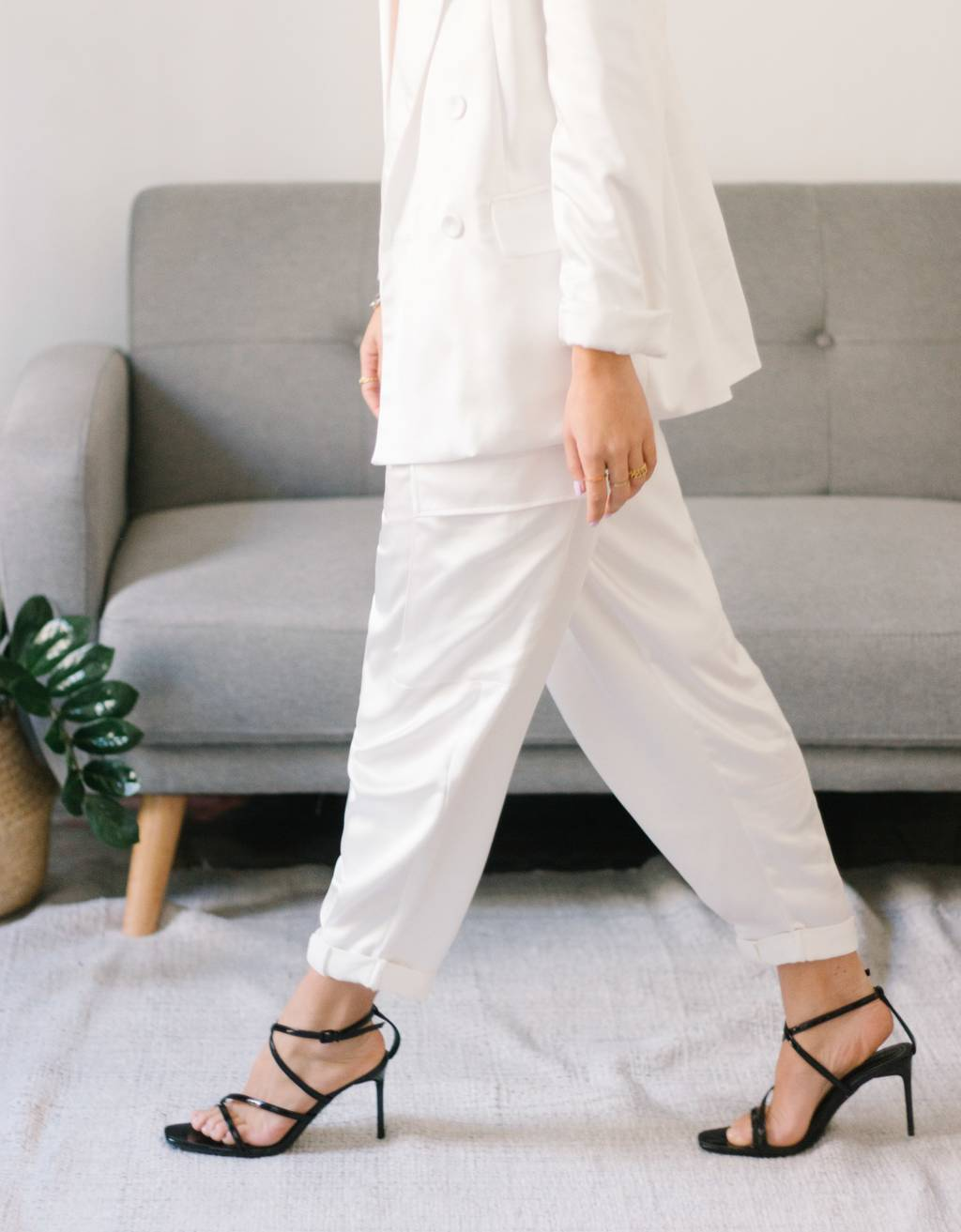 Belted satin cargo trousers