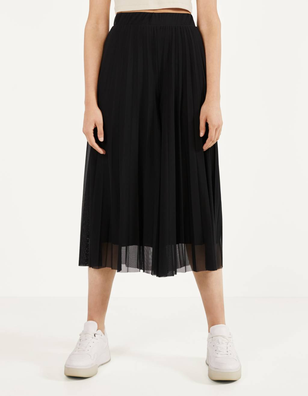 Wide-leg tulle trousers
