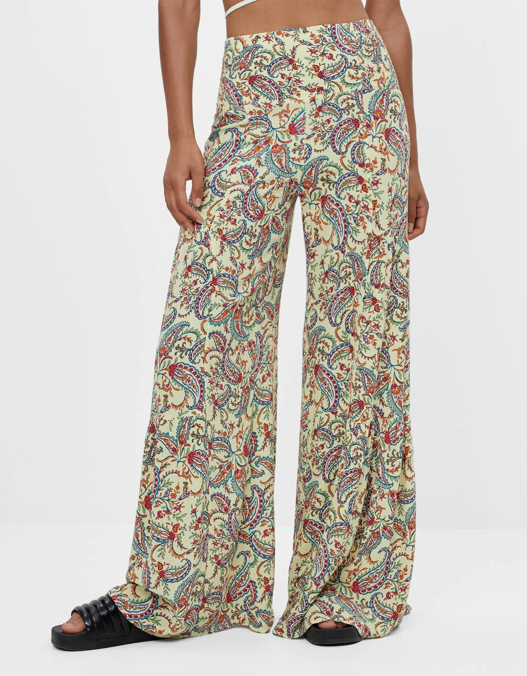 Wide-leg paisley trousers