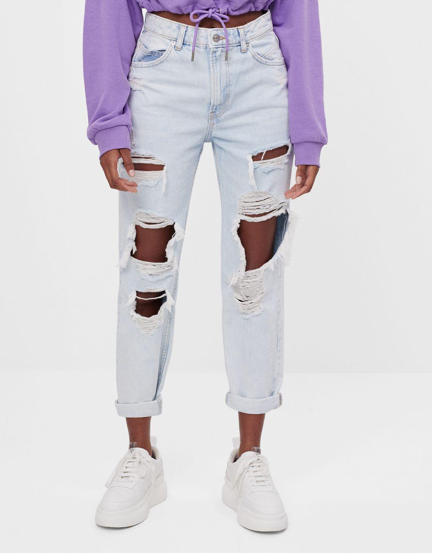 Jeans mom strappi