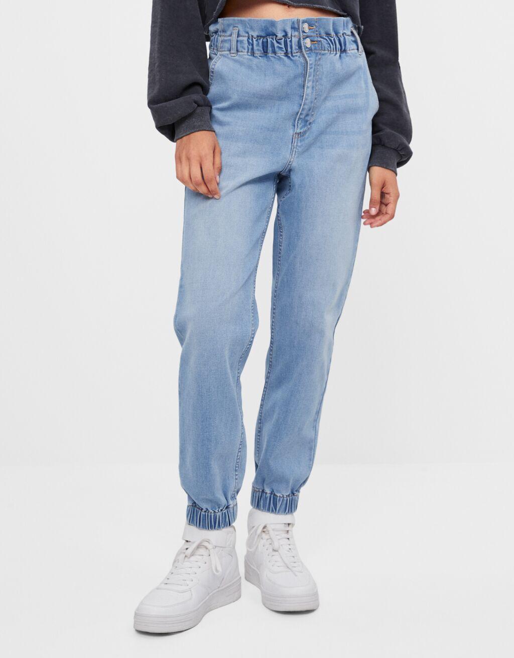 Paperbag-Jeans im Jogger-Stil