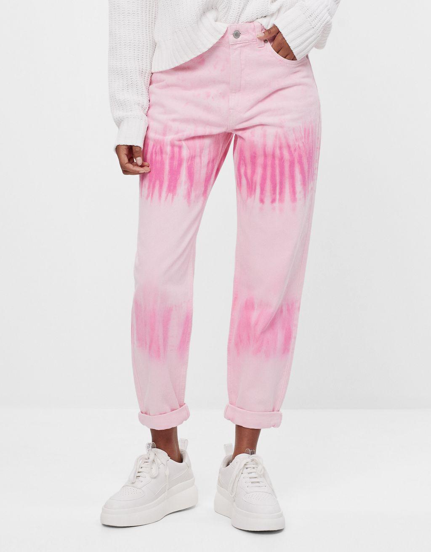 Tie-dye balloon jeans