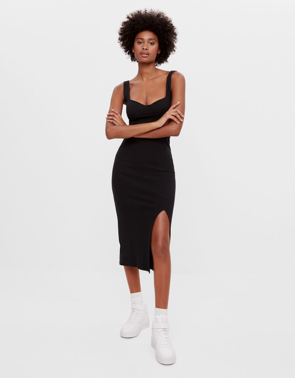 Платье-бюстье длины миди