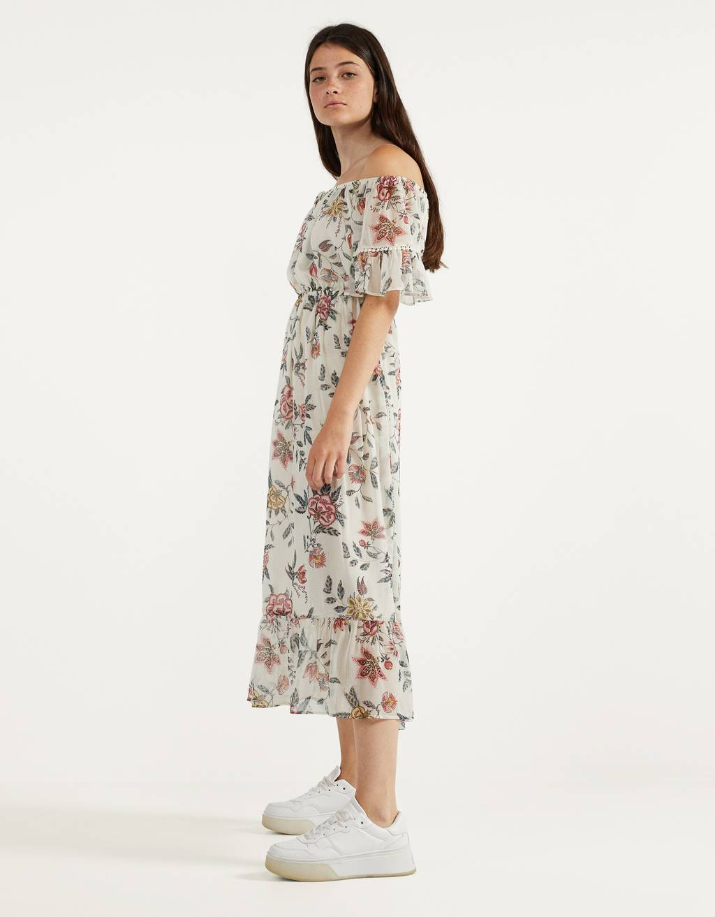 Off-the-shoulder floral dress