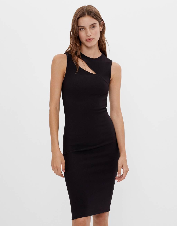 Платье без рукавов с разрезом