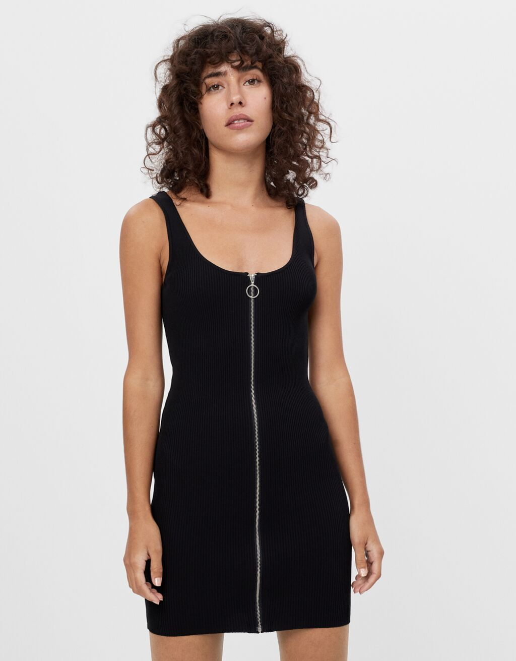 Zip-up dress with straps
