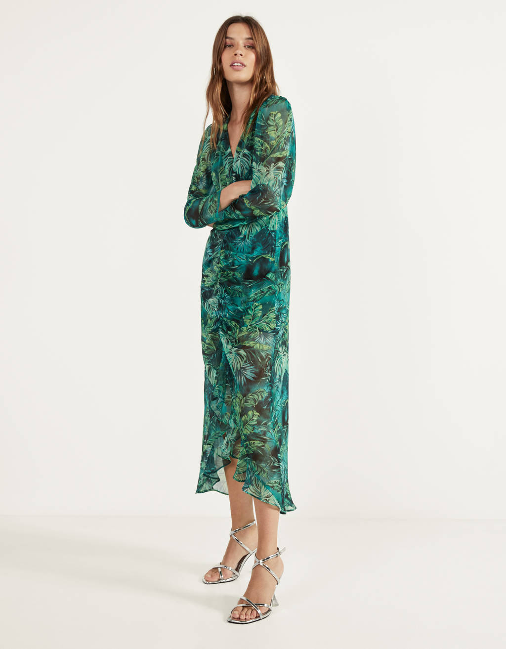 Tropical print dress with slits