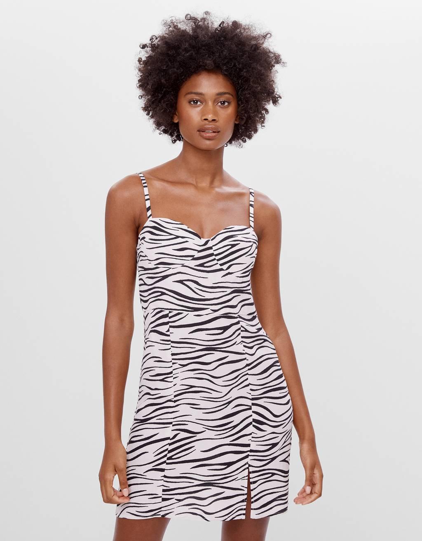 Платье с принтом «зебра»